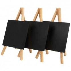 SECURIT Lot de 3 Ardoises de table MINI avec trépied 15 x 26 cm Hêtre