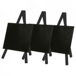 SECURIT Lot de 3 Ardoises de table MINI avec trépied 15 x 26 cm Noir