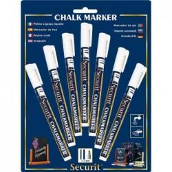 SECURIT Etui de 7 Marqueurs Craie ORIGINAL SMALL Ogive 1 - 2 mm Blanc