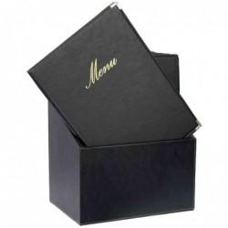 SECURIT Lot de 20 Protège-menus CLASSIC Insert Double dans une boîte A4 Noir