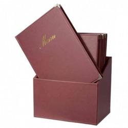SECURIT Lot de 20 Protège-menus CLASSIC Insert Double dans une boîte A4 Bordeaux