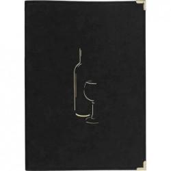 SECURIT Carte des vins CLASSIC A4 Double Insert 4 FeuillesNoir
