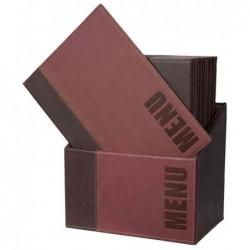 SECURIT Lot de 20 Protège-menus Trendy Insert Double dans une boîte A4 Bordeaux