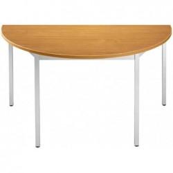 SODEMATUB Table de réunion Demi-rond Diam 1200 H 740mm Merisier/alu