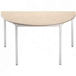 SODEMATUB Table de réunion 147DREA, demi-rond, érable/alu