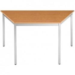 SODEMATUB Table réunion 147TMA, trapézoidale, merisier/alu
