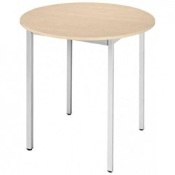 SODEMATUB Table universelle 80ROEA, rond, 800 mm, érable/alu