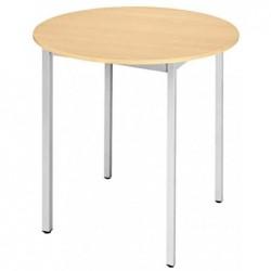 SODEMATUB Table universelle Ronde Diam 800 mm H 74 cm Hêtre/alu