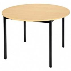 SODEMATUB Table Ronde Universelle Diam 1200 mm Hêtre/noir