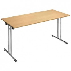 """SODEMATUB Table pliante Chromeline1 """"TPCH147H"""",rectangulaire hêtre, plateau: hêtre"""