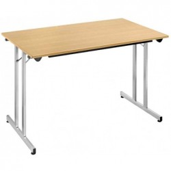 SODEMATUB Table pliante TPMU127HA, 1.200 x 700 mm, hêtre/alu