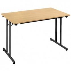 SODEMATUB Table Pliante 1200 x 800 mm H 740mm Plateau Hêtre / Pieds Noir