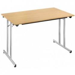 SODEMATUB Table pliante Plateau 19 mm L1400 x P700 x H 740 mm Hêtre - Alu