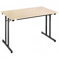 SODEMATUB Table pliante TPMU168EN, 1.600 x 800 mm, érable/noir