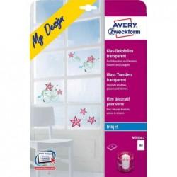 AVERY ZWECKFORM Paquet de 4 feuilles A4 de stickers pour verre Transparent