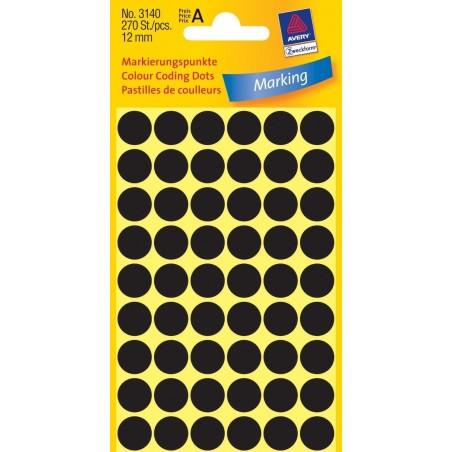 AVERY ZWECKFORM Etui de 270 pastilles gommettes adhésives rondes 12 mm Noir