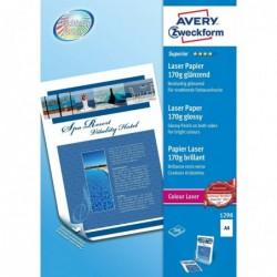 AVERY ZWECKFORM Pqt de 200 Papier photo Colour Laser Recto Verso A4 170 g Blanc Brillant