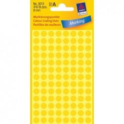 AVERY ZWECKFORM pastilles adhésives, diamètre 8 mm, jaunes Contenu: 416 étiquettes -3013
