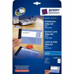 AVERY ZWECKFORM Pqt de 25 F de 8 Cartes de visite Quick & Clean mat 260g 85x54 mm