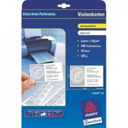 AVERY ZWECKFORM cartes de visite, 85x54 mm, blanc,100 pièces