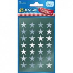 AVERY ZWECKFORM ZDesign stickers de Nöel Etoiles Argent 2 Feuilles de 28