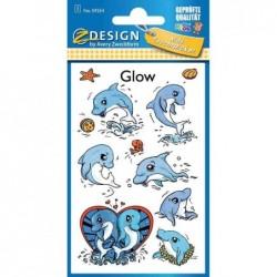 AVERY ZWECKFORM Sticker Phosphorescent DAUPHIN 1 feuilles de 7