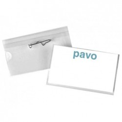 PAVO Bte 50 Porte-badge à Epingle 40 x 60 mm Transparent
