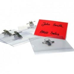 PAVO Pack de 50 Badges Combi Epingle + pince 55 x 86 mm Transparent