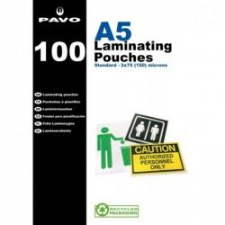 PAVO Pack de 100 Pochettes de Plastification A5 2 x 75 microns Brillant