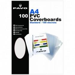 PAVO paquet de 100 plats de couverture, A4, PVC, transparent, 0,15 mm