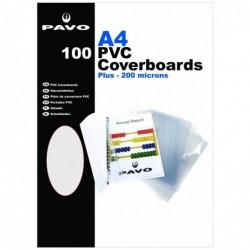 PAVO Pack 100 plats de couverture Reliure A4 PVC 20/100eme Transparent