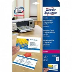AVERY ZWECKFORM 100 cartes de visite recto/verso bords lisses Quick&Clean 220g/m² Laser Blanc satin 85 x 54 mm