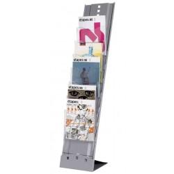 """PAPERFLOW Présentoir métal transportable """"Plio"""", 7 cases, tablettes transparentes"""