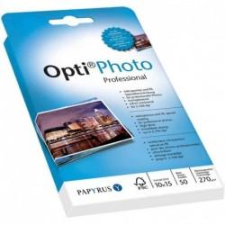 PAPYRUS Bte 50 Feuilles Papier photo Jet d'encre Opti Photo 10x15 cm 270g Extra Blanc