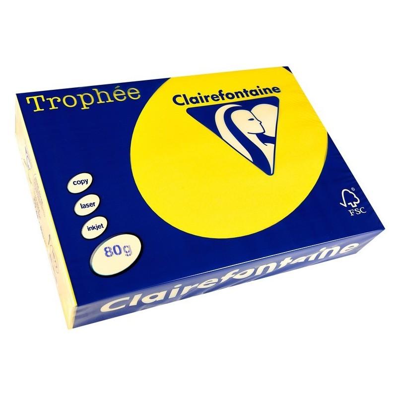 TROPHÉE Ramette 500 Feuilles Papier 80g A4 210x297 mm Certifié FSC  fluo jaune
