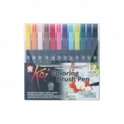 SAKURA stylo pinçeau Koi Coloring Brush, étui de 12