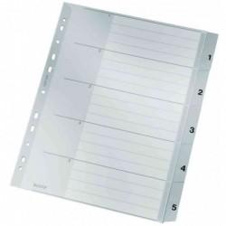 LEITZ Intercalaires Plastique Numérique de 1 à 5  format A4 Large