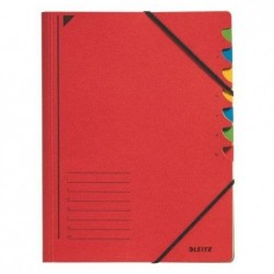 LEITZ Classeur trieur, format A4, 7 compartiments Rouge