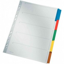 LEITZ Intercalaires carton blanc A4 5 divisions Onglet couleur
