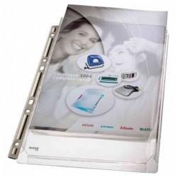 LEITZ Lot de 3 Pochettes perforées à soufflet Bord Métal PVC grainé A4 170 µ Transparent