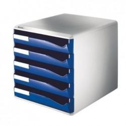 LEITZ Module de classement PS, 5 tiroirs, gris-clair/bleu