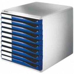 LEITZ Module de classement, 10 tiroirs, gris-clair/bleu