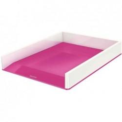 LEITZ Corbeille à courrier Dual blanc/rose métallisé - Dim L26,7 x H4,9 x P33,6 cm