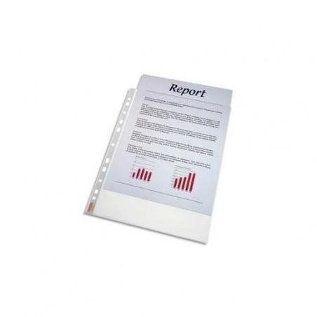 ESSELTE Sachet de 100 pochettes perforées A4 polypropylène grainé 4.8/100e incolore
