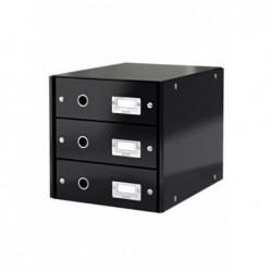 LEITZ Coffret tiroir Click & Store, 3 tiroirs, noir