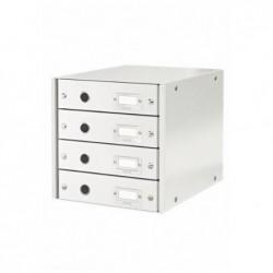 LEITZ Bloc de classement Click & Store, 4 tiroirs, blanc