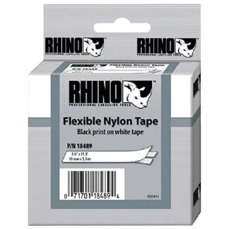 RHINO Ruban flexible Nylon 19 mm x 3,5 m Noir sur Blanc