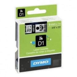 DYMO Cassette de ruban encreur D1 blanc sur noir 12mm/7,0m