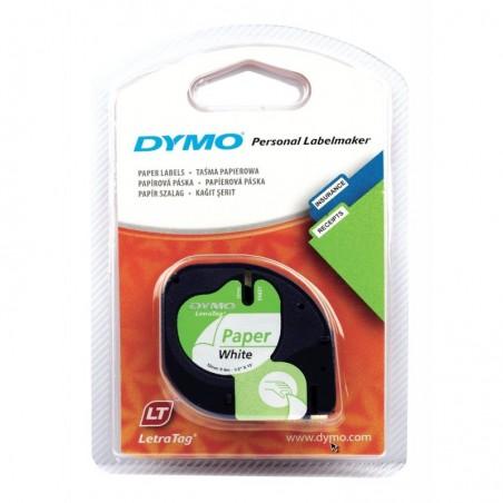 DYMO Cassette Ruban LetraTag Papier 12 mm x 4 m Noir sur Blanc
