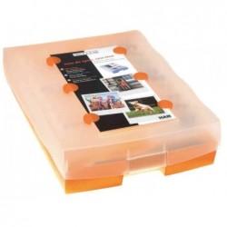 HAN Boîte de rangement + 100 Cartes A8 Croco 2-6-19 - Orange translucide